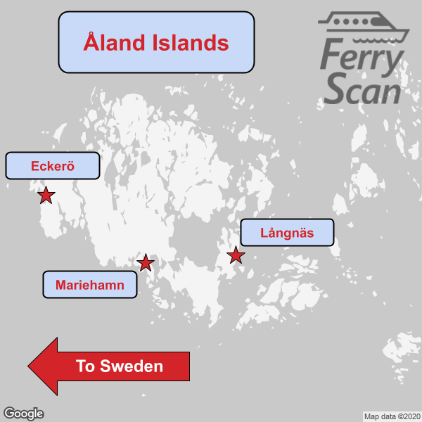 Ferries to/from Sweden and the Finnish mainland depart from Mariehamn, Eckerö and Långnäs harbours. Note intra-Åland ferries not shown.