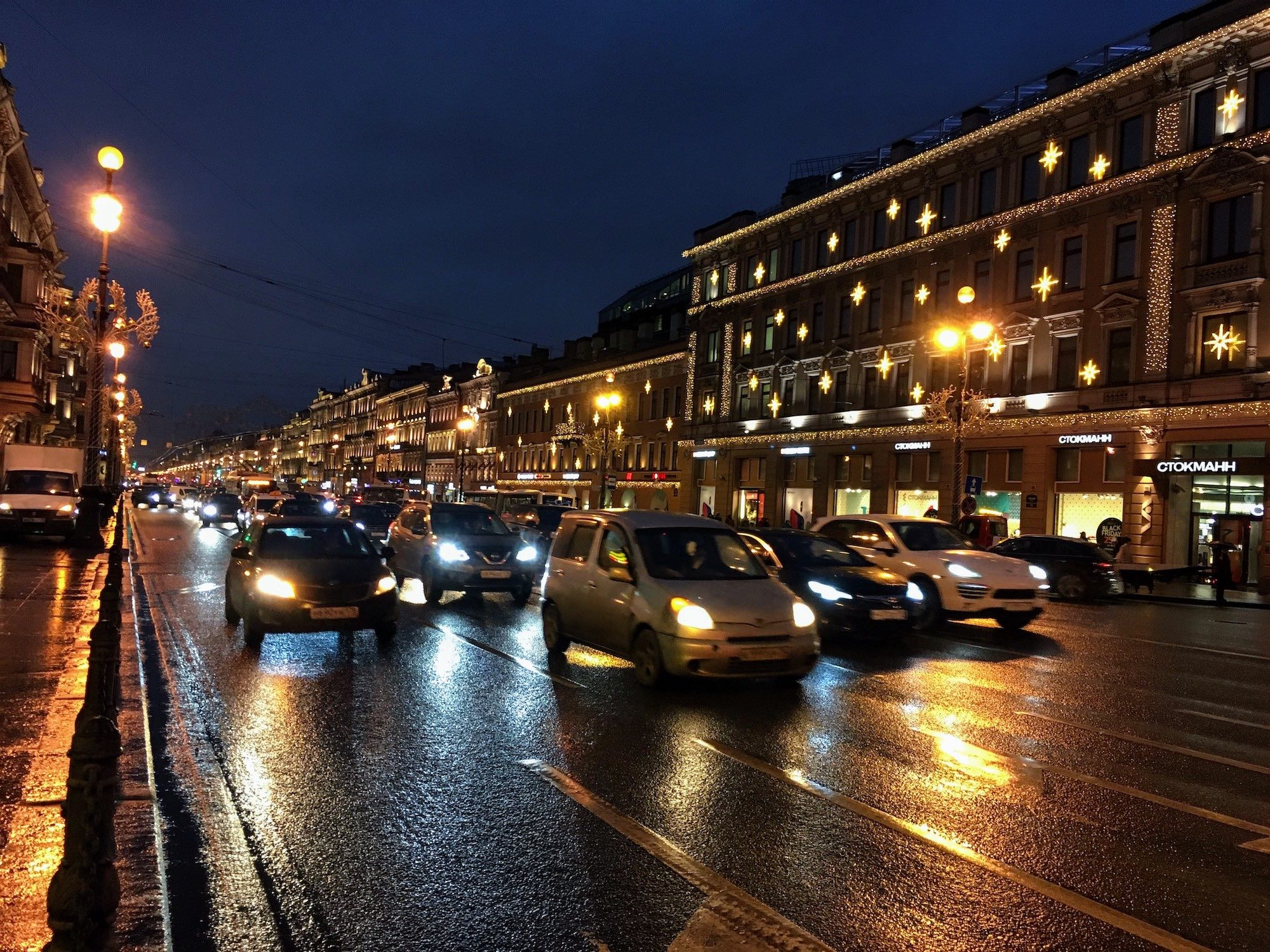 Nevsky Prospekt is a major road through the center of Saint Petersburg, and illuminated nicely during the night.