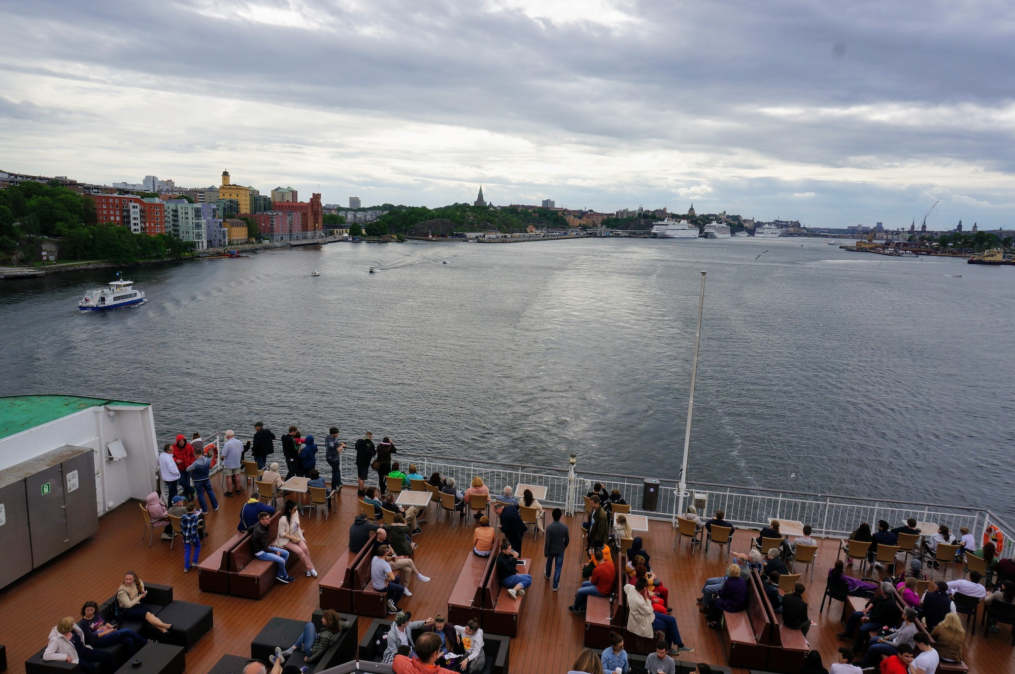 Departing Stockholm aboard a ferry from Stadsgården port.