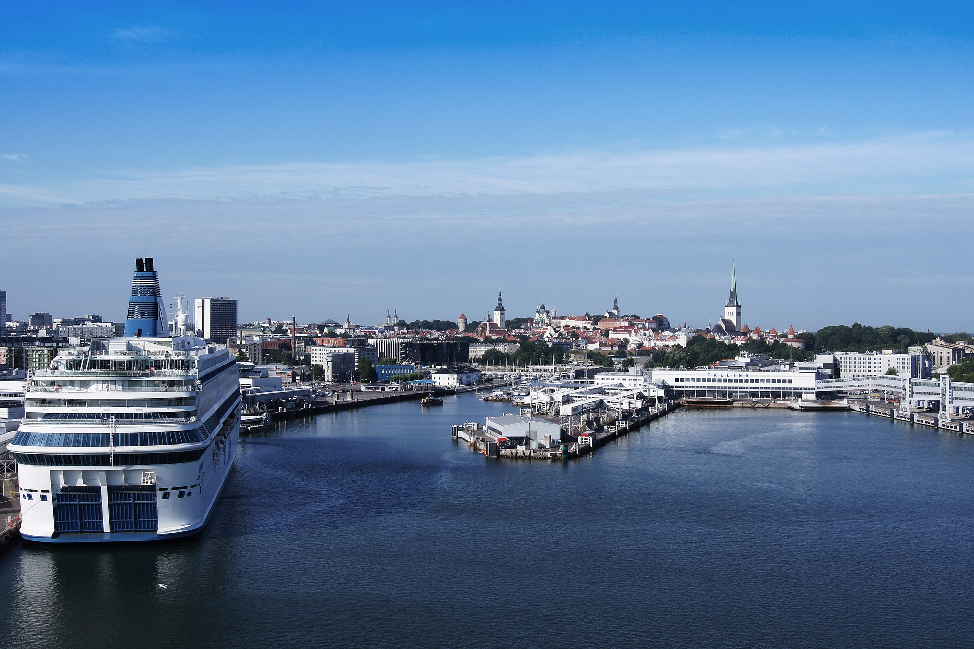 Looking onto the city center of Tallinn from its largest passenger port.