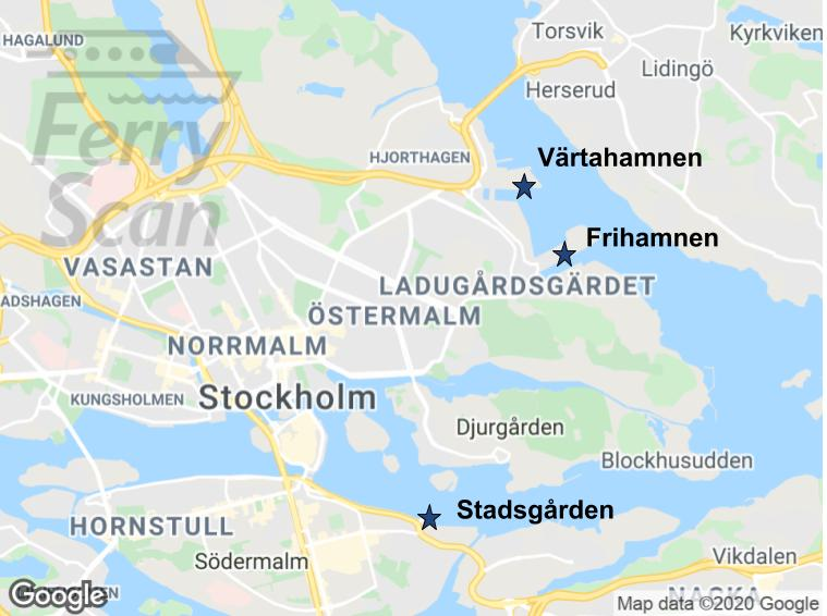 Map of Stockholm city center with Värtahamnen, Frihamnen, and Stadsgården ports marked.