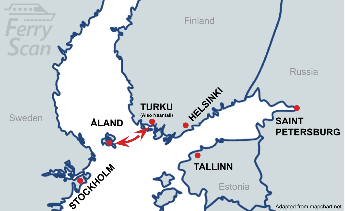 Map showing ferry route from Åland to Turku