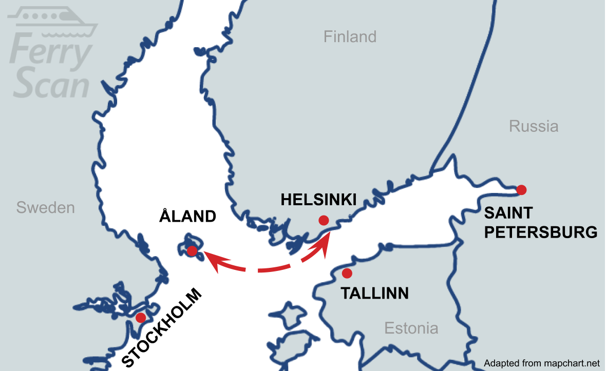 Map showing ferry route from Helsinki to Åland
