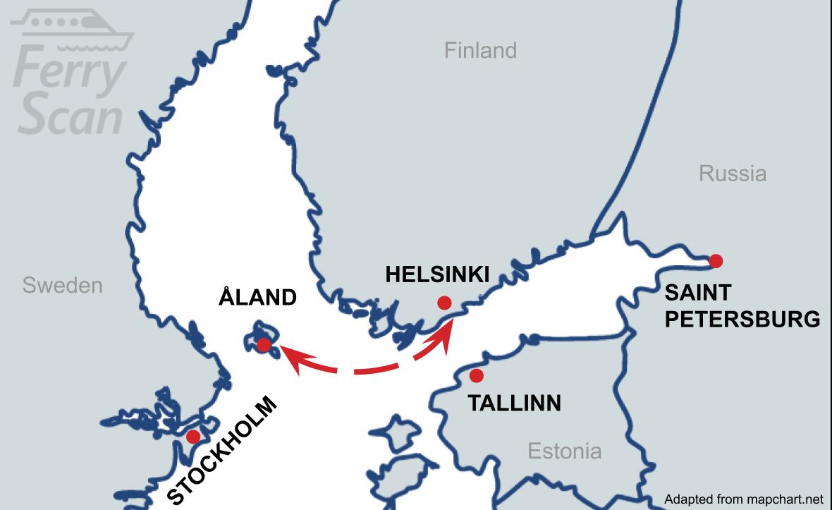 Karta som visar färjelinjen från Ålandsöarna till Helsingfors