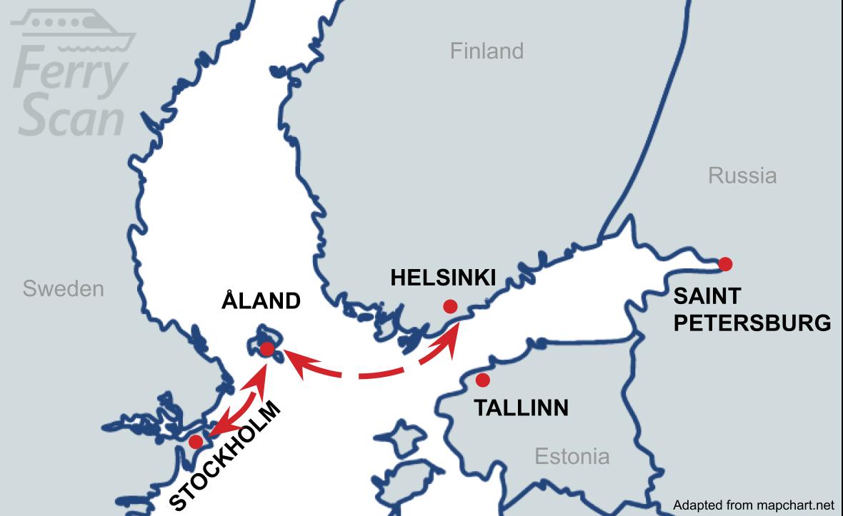 Karte, kurā redzams prāmja maršruts no Stokholma līdz Helsinki