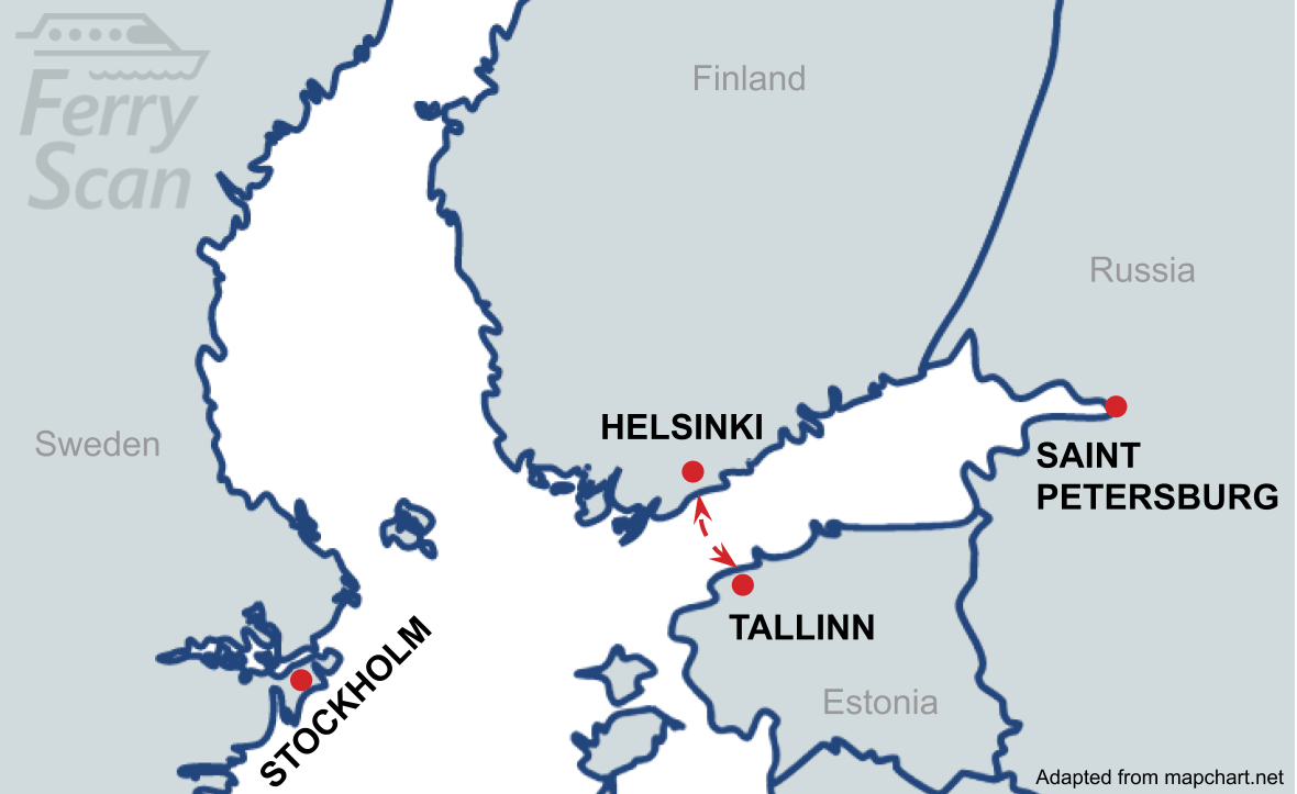 Map showing ferry route from Helsinki to Tallinn
