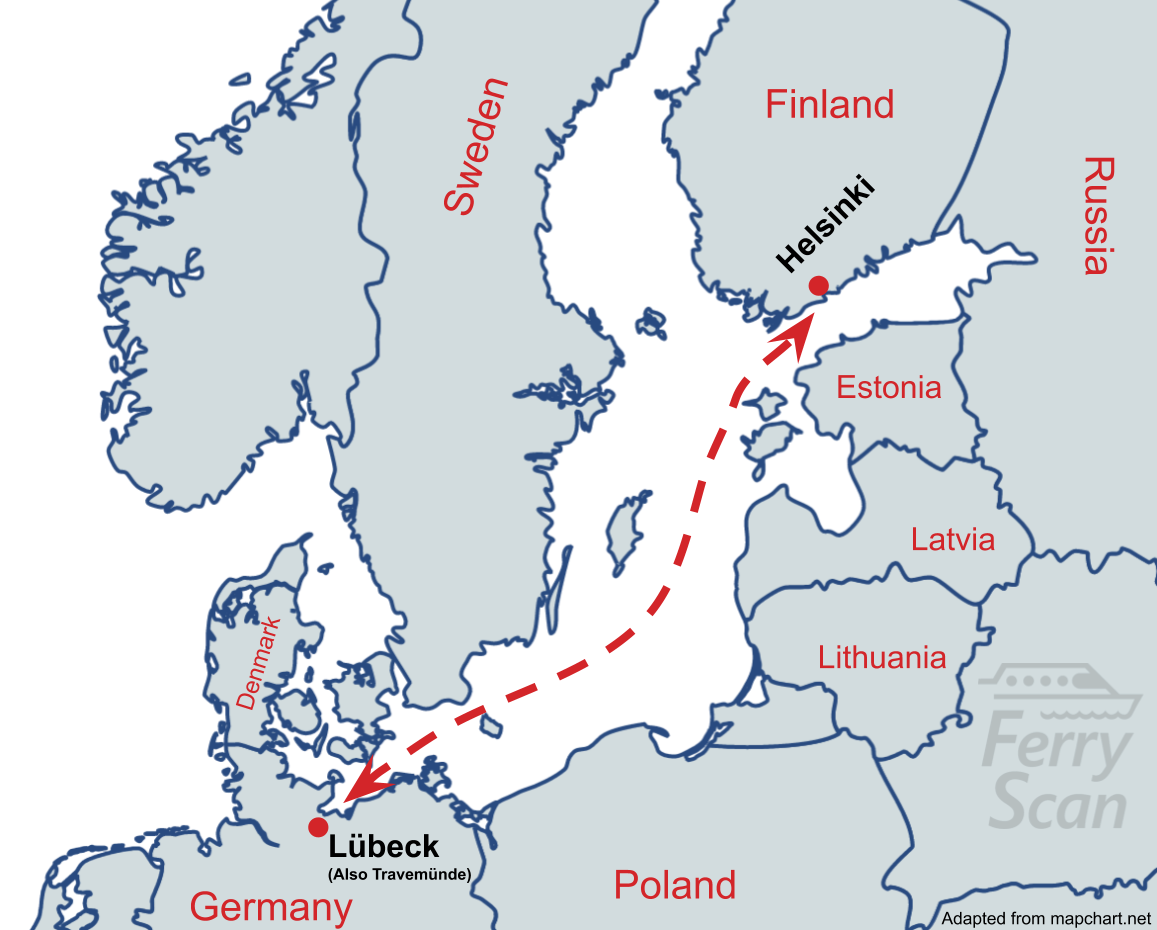 Map showing ferry route from Lübeck to Helsinki
