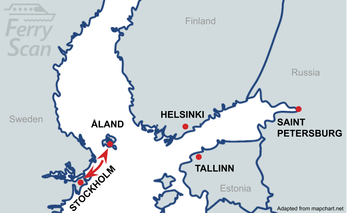 Map showing ferry route from Stockholm to Åland
