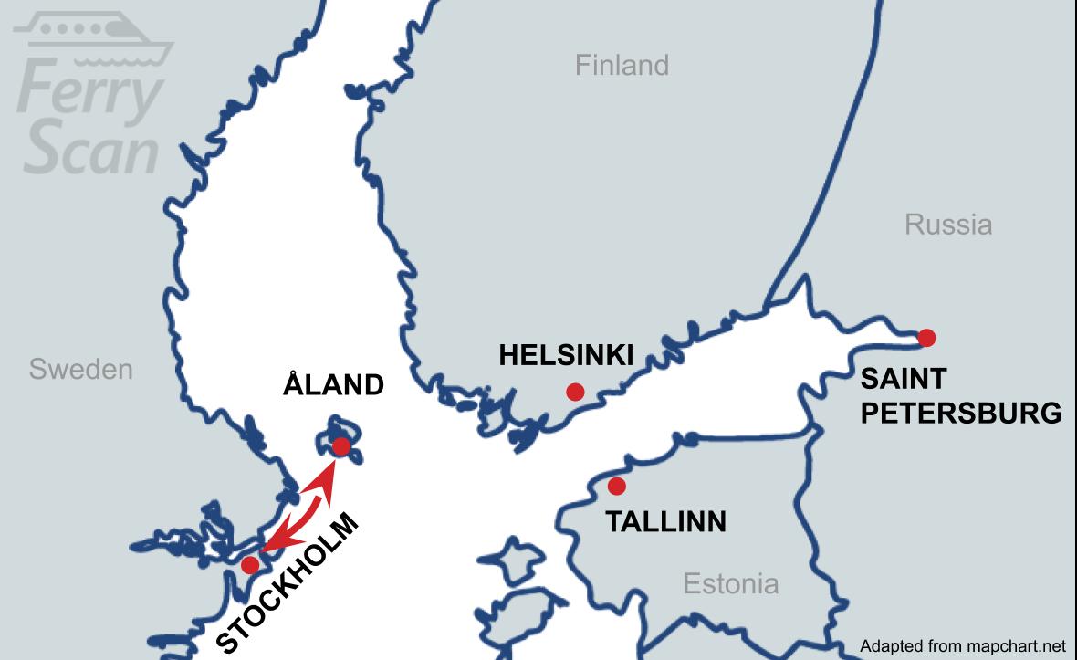 Karte mit der Fährroute von Ålandinseln nach Stockholm