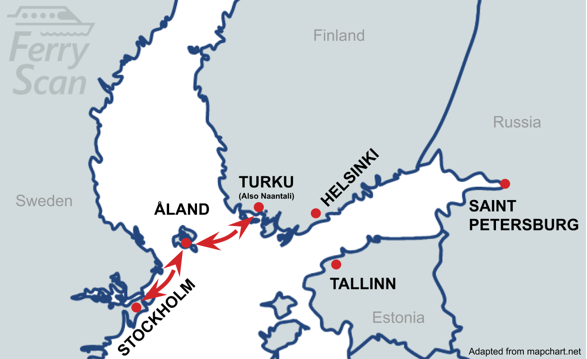 Map showing ferry route from Turku to Stockholm